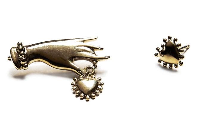Boucles oreilles en vermeil main et coeur Agnes de Verneuil AH2016