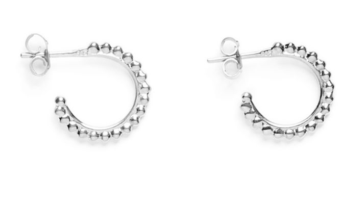 mini creoles ligne de perles argent