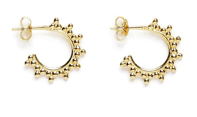 petit creoles trois perles vermeil jaune