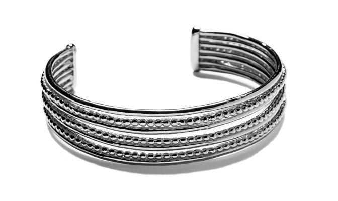 bracelet semainier lignes et perles plaque argent