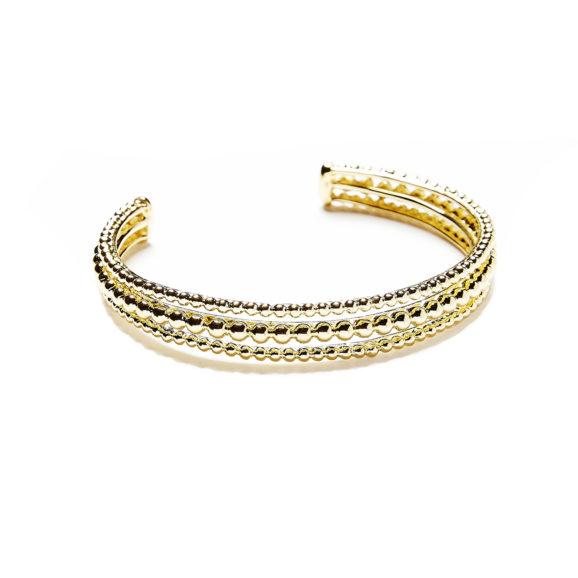 bracelet trois ranges de perles plaque or jaune