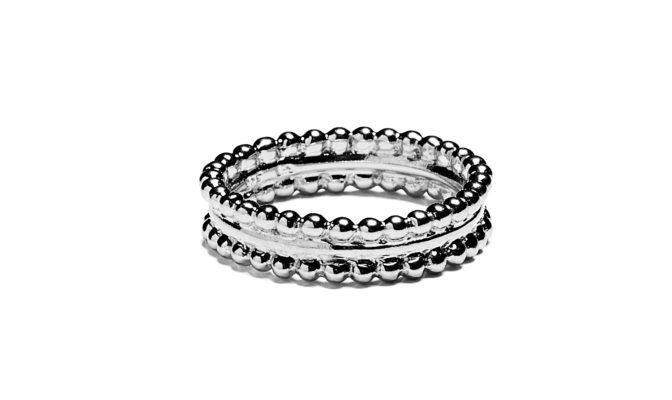 anneau deux lignes de perles vermeil
