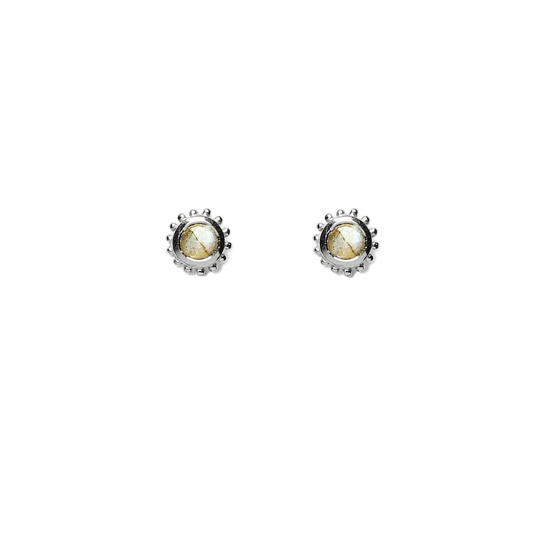 boucles petite pierre argent labradorite