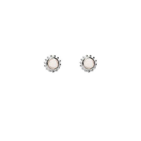 boucles petite pierre argent quartz rose