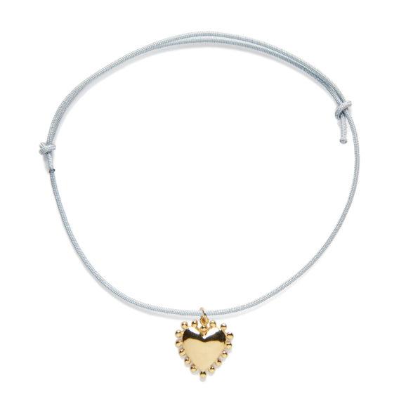 P004VJ Bracelet-Gris-Grand-Coeur-Vermeil