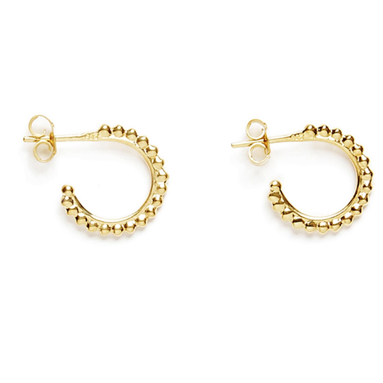mini creoles ligne de perles vermeil jaune