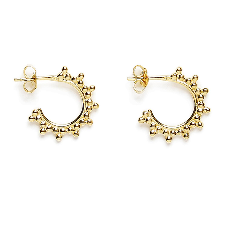 petites creoles trois perles vermeil jaune