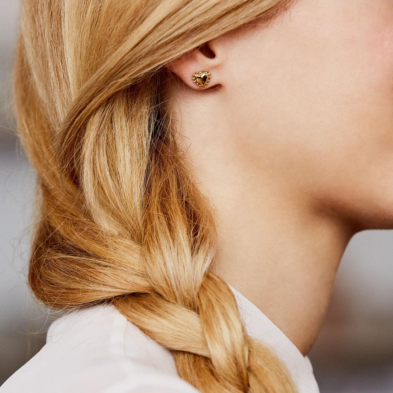 boucles d'oreilles puces vermeil coeur agnes de verneuil bijou