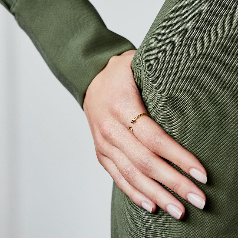 Bague ouverte trois perles vermeil jaune