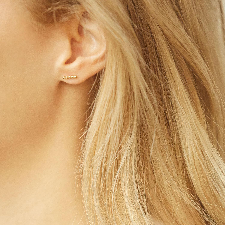 Puces Petite Ligne de Perles en Or 18 carats