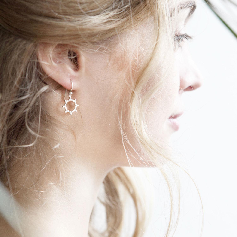 Dormeuses-Soleil-argent-Boucles-d-oreilles