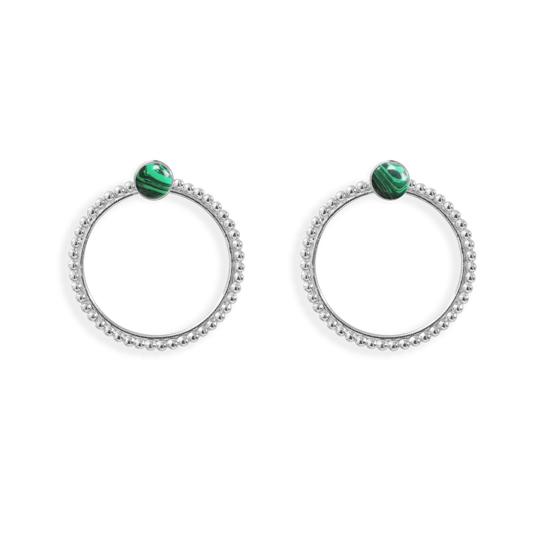 Puces-pierres-et-dessous-doreilles-anneaux-perles-argent-malachite