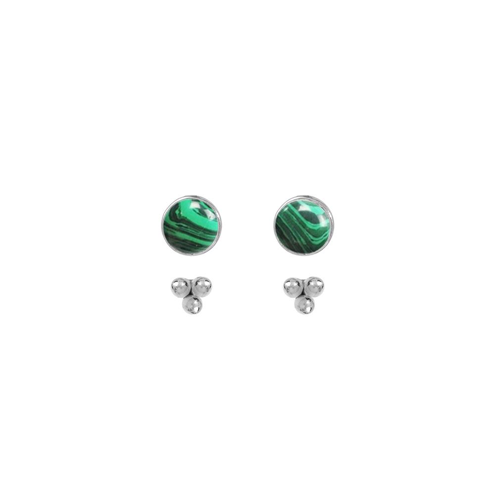 Puces-pierres-et-dessous-d-oreilles-trois-perles-argent-malachite