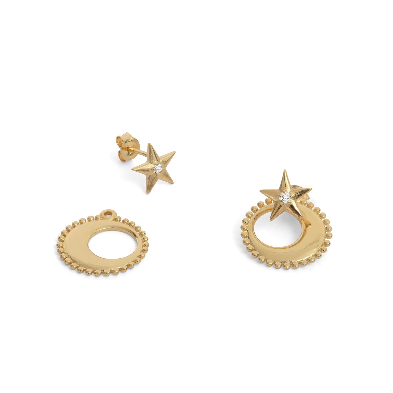 Boucles d Oreilles Moonstar Zircon Lune Étoile Plaque or Agnes de Verneuil