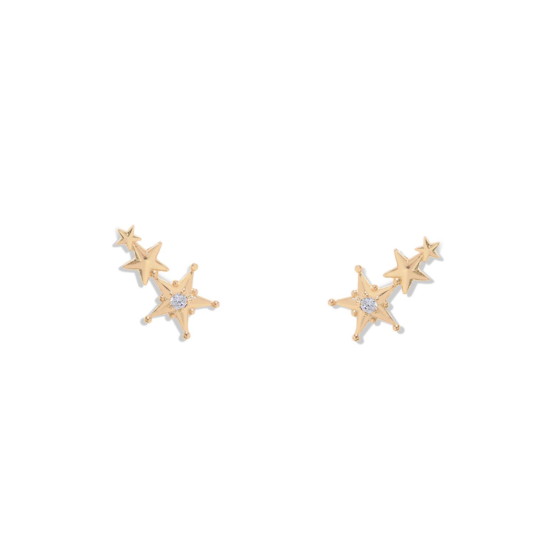 Boucles d oreilles Orion Zircon Étoile Plaque or Agnes de Verneuil