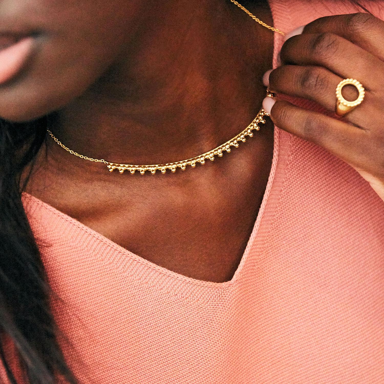 Collier Torque Soleil 3 Perles Vermeil Agnes de Verneuil