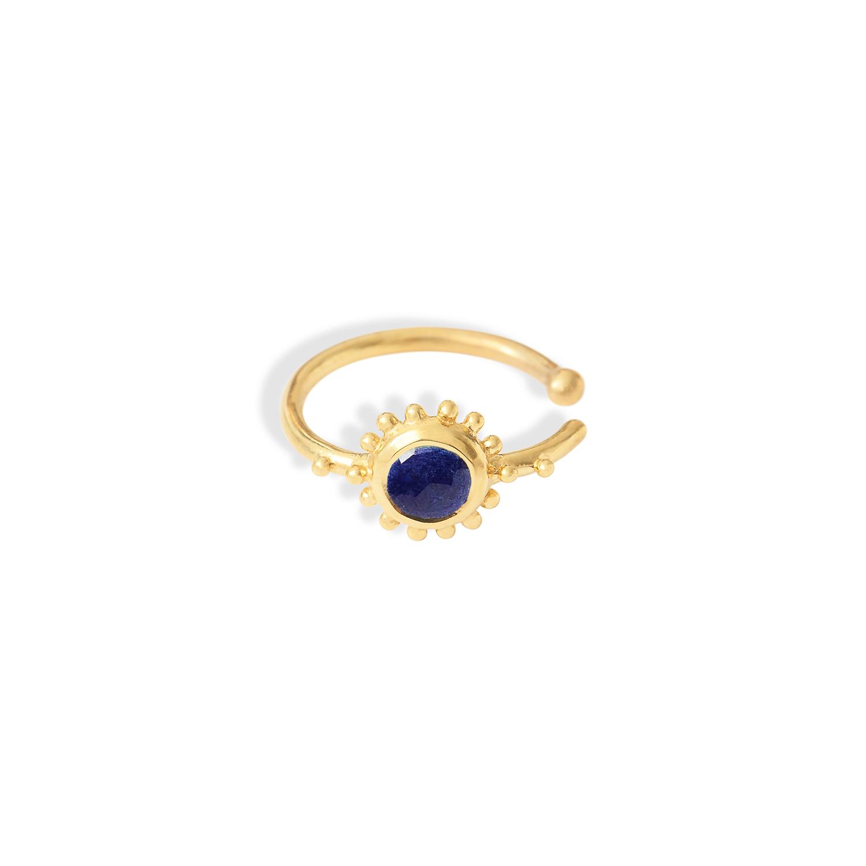 Anneau-oreille-soleil-Vermeil-Lapis-Lazuli