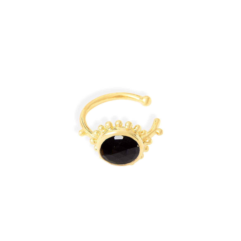 Anneau-oreille-soleil-Vermeil-Onyx